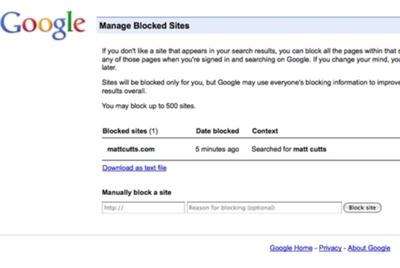 Google introduce un botón para bloquear sitios