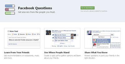 Facebook lanza Questions, un servicio para sondear la opinión
