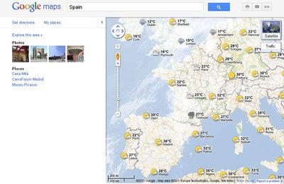 Los mapas de Google muestran el tiempo