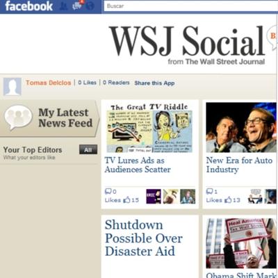 'The Wall Street Journal' lanza una aplicación en Facebook
