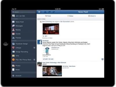 Facebook lanza su aplicación para iPad