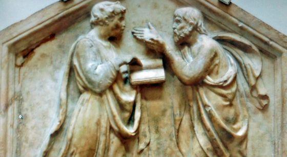Panel de mármol de Platón y Aristóteles, de Luca della Robbia (1437-9), en el Museo dell' Opera del Duomo en Florencia (Italia)