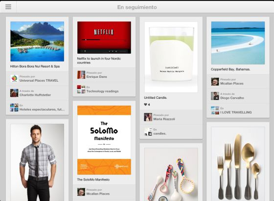 Pinterest llega a iPad y Android
