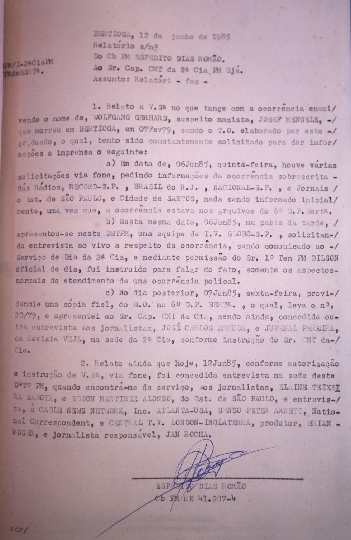 Relatório do atestado de morte de Mengele.