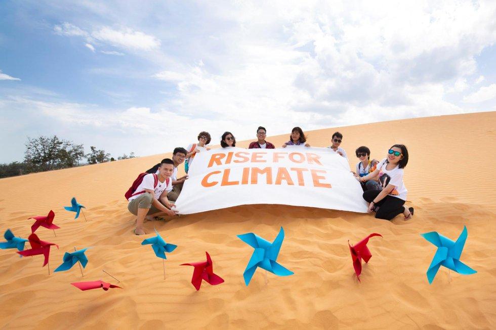 Acampamento de Liderança Climática do Vietnã 2018, realizado em um parque eólico, onde foram treinados 30 jovens lideranças de todo o país