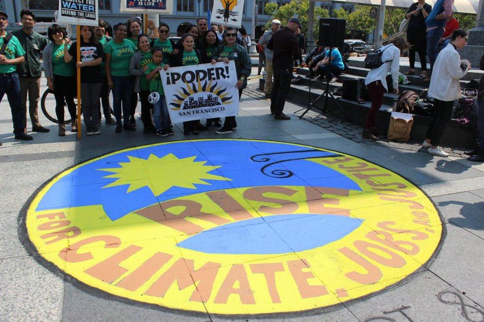 Arte de rua em São Francisco e Marcha de Mulheres pelo Clima – Mobilização pelo Clima, trabalho e Justiça. Fotos: David Solnit