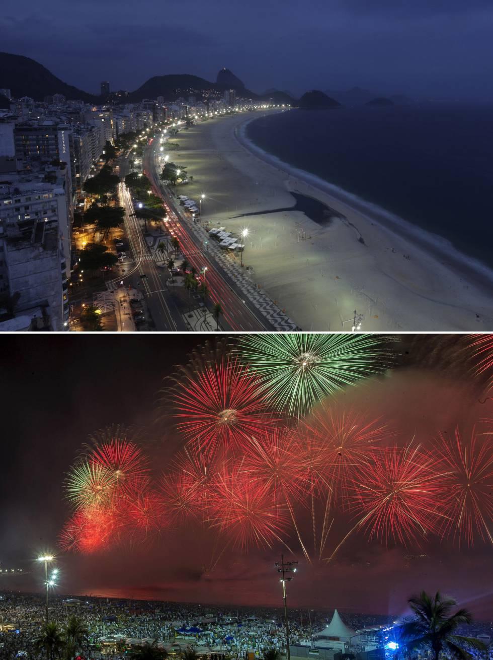 Foto da celebração de Ano Novo na praia de Copacabana vazia no Rio no último dia de 2020, em contraste com a multidão que assistiu ao show de fogos em 31 de dezembro de 2019.