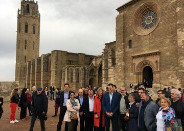 El candidato Pedro Sánchez, de incógnito en Lleida