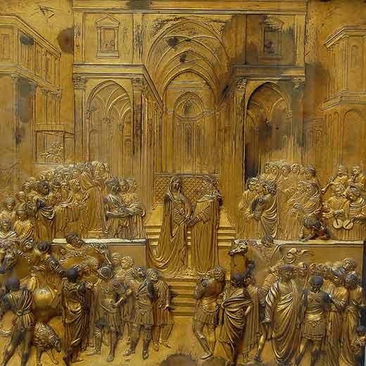 La leyenda de la Reina de Saba ha inspirado numerosos relatos, esculturas, pinturas, canciones y películas. En la imagen, una de las placas de las puertas del baptisterio de Florencia reproduce el encuentro de la monarca etíope con el rey Salomón.