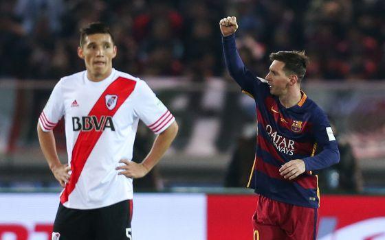 Messi Festeja El Primer Gol Del Barcelona Frente Al River Plate