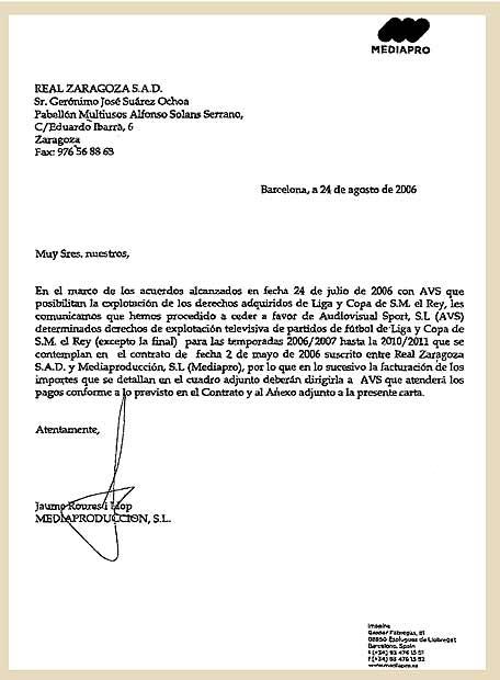 carta firmada por el presidente de mediapro  jaume roures
