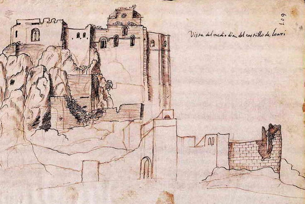 Dibujo de Peridis del castillo de Loarre en Huesca  Edicin