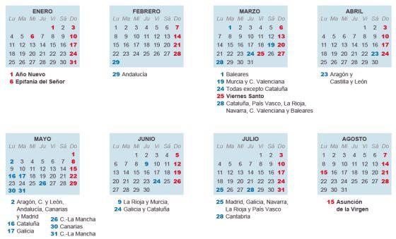 Calendario Con Santos.El Calendario Laboral De 2016 Tiene Ocho Dias Festivos En Toda