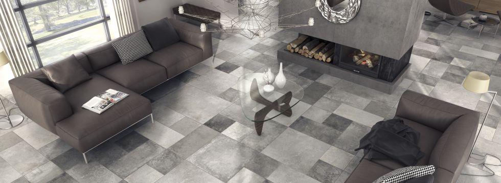 suelo porcelnico hdc de geometra especial en un salon