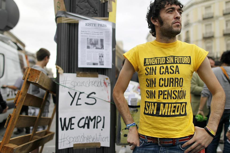 Un manifestante, en la Puerta del Sol.