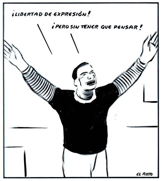 """Para el viñetista Andrés Rábago, 'El Roto' (Madrid, 1947), que publica sus dibujos en EL PAÍS, la libertad de expresión """"conlleva saber qué queremos decir, es necesario que reflexionemos y que sea algo útil"""". El dibujante, que publica nuevo libro, 'Camarón que se duerme (se lo lleva la corriente de opinión)' (Literatura Mondadori) comenta en esta fotogalería los dibujos escogidos, seleccionados por temas como la libertad de expresión, la televisión e Internet. En el primer dibujo, El Roto muestra a un hombre que quiere desahogarse pero """"la comunicación no debe ser solo eso"""" sino que requiere de """"un pensamiento""""."""