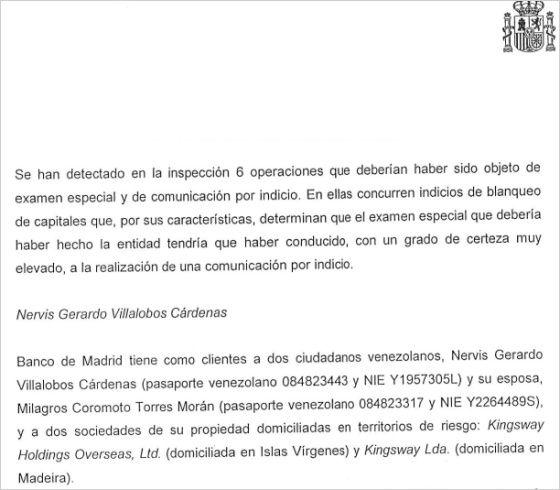 Venezuela Excerpt From Sepblac Report On Banco De Madrid