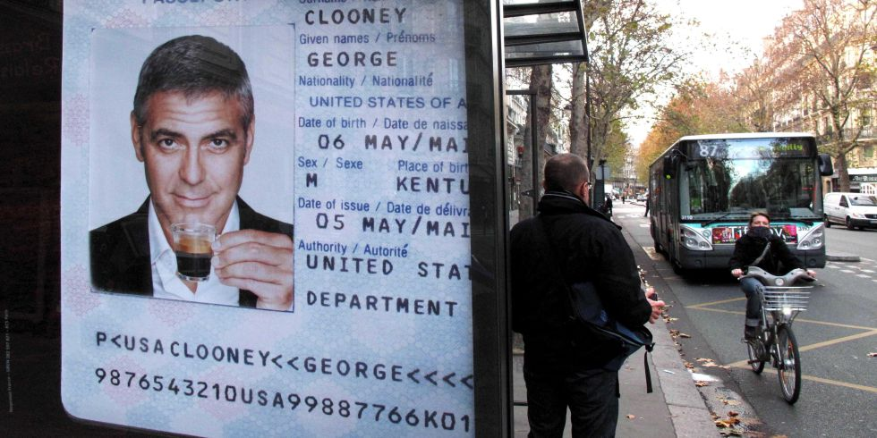 Actor George Clooney Advertising Nespresso Coffee Machines At A Bus Shelter In Paris