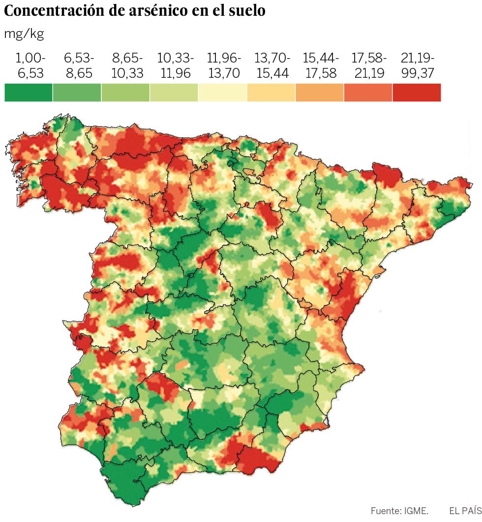 El mapa del arsnico se asocia a un mayor riesgo de cncer en