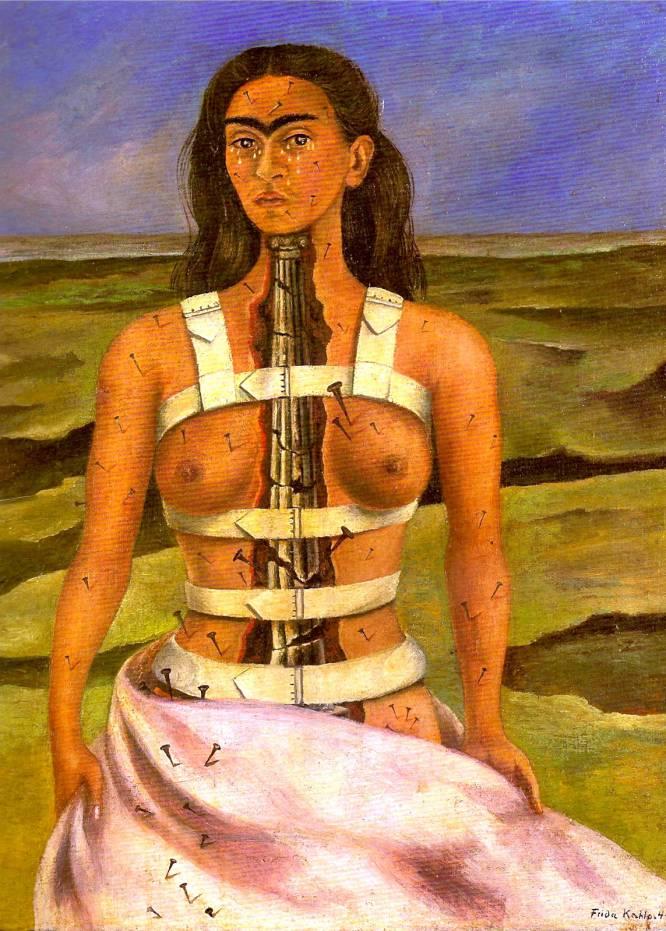 """¿Qué sentirías si desaparecieran tus amigos o tu familia? Para una persona, más si es joven, no puede haber un escenario más terrible. Es parte del mensaje que transmite esta obra de Frida Kahlo y que hará valorar más al adolescente lo que tiene. La salud de Khalo no se encontraba en su mejor momento a mediados de la década de los cuarenta. Su dolor emocional (el romance con Diego Rivera había acabado hacía pocos años) y físico (las interminables secuelas de un accidente de autobús en 1925) la empujó a retratarse sola. Mirada fría y una columna jónica rota en forma de médula espinal completan la angustia que expele. """"Es la expresión de la vida rota, de la posibilidad del dolor y de los soportes de nuestra existencia"""", señala Carmen Bernárdez Sanchís, profesora de Arte Contemporáneo de la Universidad Complutense de Madrid."""