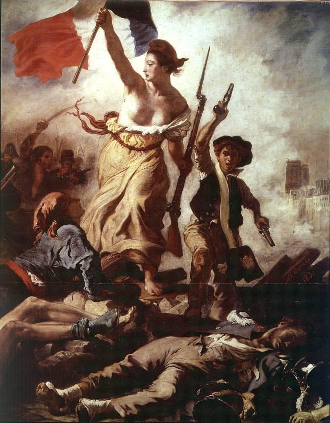 """El pecho al aire de la mujer que personifica la libertad sería ahora lo que menos llamaría la atención. Cuando el francés Eugène Delacroix pintó 'La libertad guiando al pueblo', muchos ojos fueron directos a esa parte del cuerpo humano que no es aquí sino la punta de una pirámide. Debajo, en capas, se amontonan los muertos, los asesinos y los que aún tienen esperanza. """"Obra emblemática de la representación de la libertad humana, más allá de clases o géneros. Fruto de los altercados de 1830 en París contra el rey Carlos X (aunque a veces se la relaciona erróneamente con la Revolución) por primera vez la libertad es representada como una figura femenina y no una abstracción, portando la bandera a pecho descubierto"""", explica Pérez. Últimamente, indica, la imagen se ha visto actualizada con la estampa de las protestas que agitan la Europa de la crisis o con la imagen análoga de una Turquía en lucha."""