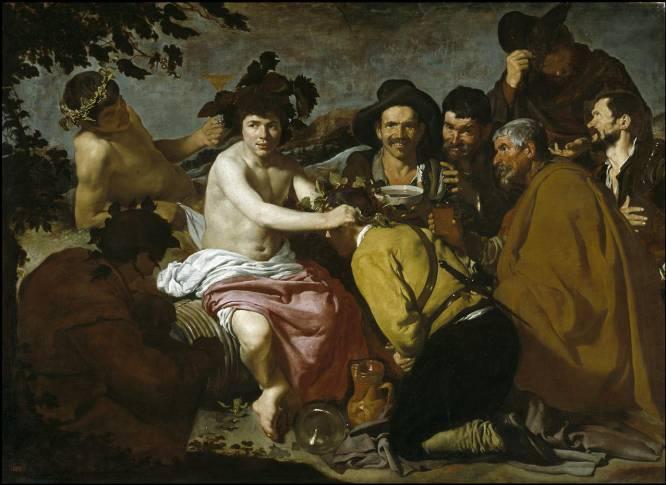 """Qué lección puede sacar un joven de este cuadro de Velázquez. Se puede interpretar como una representación de los oscuros rincones de las ciudades: estancias decadentes, guaridas de penas, risas, lamentos y vicios. """"Pocos artistas han sabido pintar temas mitológicos de la forma que lo hacía Velázquez"""", comenta el historiador Julio Pérez. El costumbrismo de sus telas se muta aquí en representación terrenal del Dioniso, el dios del vino, acompañado perpetuamente de su copa y sus uvas, manantial de su alegría. La borrachera """"se palpa, se huele"""", en palabras del historiador."""