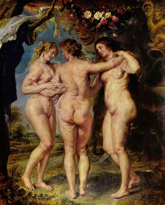 """""""Este cuadro hace reflexionar sobre la tiranía de la belleza y sobre la salud por encima de las partes erógenas. Aquí, los cuerpos femeninos se salen de los cánones de belleza actuales. Es ideal para que los jóvenes vean cómo es recomendable valorar otras cualidades del cuerpo femenino"""", señala la profesora de arte en la Universidad Complutense Carmen Bernárdez. El mito de las tres gracias cuenta que estas tres diosas del hechizo, la alegría y la belleza presidían los banquetes y los bailes. Aquel que fuera bendecido por una de ellas se convertiría en un gran filósofo, orador o deportista. El pintor flamenco Pedro Pablo Rubens lo ilustró """"como nunca se había hecho antes, que incluso parece posible sentirse el tacto de la piel"""", según el especialista Pérez Manzanares."""