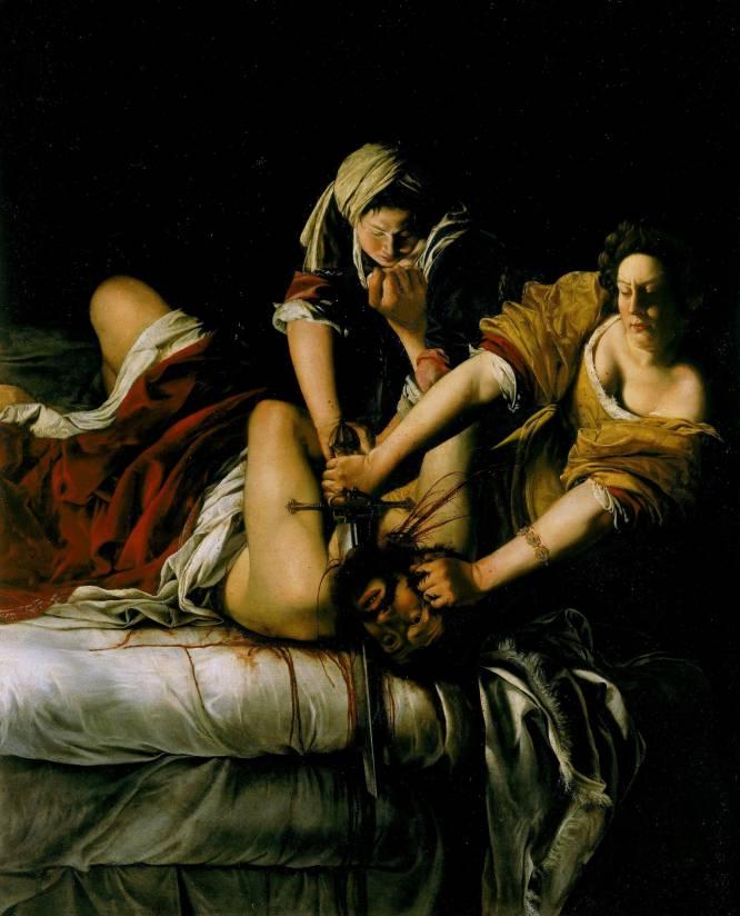 """""""Por una parte, es una pintura que produce mucha desazón. Es violento y sirve para debatir sobre la agresividad, de la que estamos rodeados. Y, por otra, es una reflexión sobre la figura femenina: se da por hecho que los cuadros más violentos están pintados por hombres, y este está realizado por una mujer"""", señala la profesora Bernárdez. Esta obra reinterpreta el tema bíblico de la decapitación de la viuda hebrea Judith a Holofernes, un general del ejército invasor de Israel, para mantener a salvo su tierra. """"Ha servido para interesantes relecturas feministas de la autora, dada la 'complicidad' femenina que parece establecerse entre las protagonistas"""", describe Pérez Manzanares."""