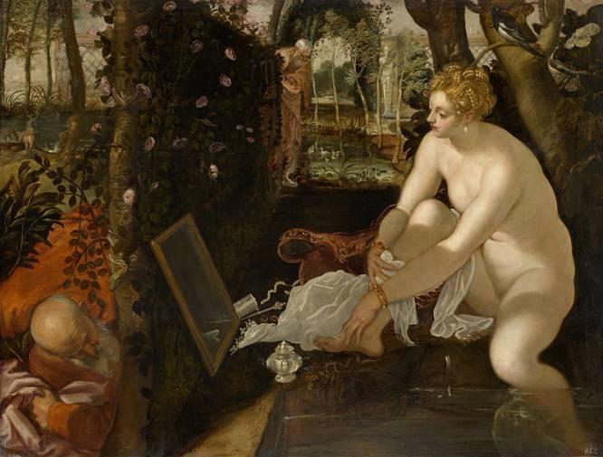 """Si el talibanismo de la corrección política hubiera existido en el siglo XVI, el pintor italiano Tintoretto no habría podido exhibir 'Susana y los viejos' en ninguna galería. ¿Por qué? Porque dibuja a un señor mayor espiando a una joven desnuda. La historia habla de una mujer """"bella y temerosa de Dios"""" a la que dos viejos se insinúan para obtener servicios sexuales a cambio de no delatarla por adulterio. Tintoretto no se centró en la lascivia ni la pedofilia, sino en la vanidad de mirarse al espejo. """"A un chaval de ahora, acostumbrado a las fotos del móvil y las redes sociales, le impresionará encontrarse con el tan vigente tema de la vanidad, de los 'mirones' y del exhibicionismo"""", afirma el historiador Julio Pérez."""