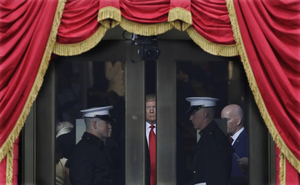 El presidente electo, Donald Trump, momentos antes del juramento de su cargo.
