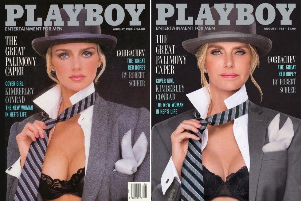 """Kimberley Conrad Hefner foi a 'coelhinha' do ano em 1989, e agora, com 30 anos a mais, volta a posar aos 54 anos tal como fez para o número da revista de agosto de 1988. Em 1989, a modelo se tornou a segunda esposa do carismático Hugh Hefner, com quem foi casada até 2010. """"Há um histórico mal-entendido de que pus um ponto final às festas na mansão. E não teve nada a ver comigo. As 'coelhinhas' continuaram vindo, mas era bom que telefonassem antes"""", conta agora à revista."""