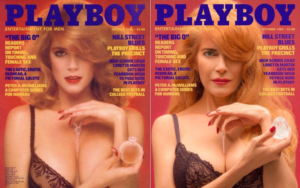 """Charlotte Kemp foi a 'coelhinha' de dezembro de 1982, o que significa que era a protagonista do sensual pôster das páginas centrais, além de ter seu próprio ensaio de fotos e uma pequena biografia nas páginas da publicação. Três décadas depois, recria a capa da revista que protagonizou em outubro de 1983. """"Não havia feito nada de nudez antes, ainda era virgem"""", lembra agora. """"A sessão de fotos foi um absoluto turbilhão""""."""