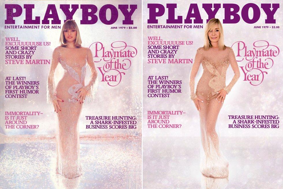 """Monique St. Pierre foi eleita 'coelhinha' do ano em 1979, e é a capa do mês de junho daquele ano que ela volta a protagonizar. Para isso, voltou a se cobrir com um vestido justo e transparente que exibe o símbolo da publicação. """"Já era modelo antes, e era um pouco conhecida antes de 'Playboy'. Mas quando meu número saiu, foi uma explosão. Adorei a experiência. Vivi na mansão pouco mais de um ano. Hef me disse: 'Acredite em mim, você vale o aluguel porque faz com que todas as garotas se sintam à vontade quando vêm aqui"""", revela St. Pierre agora. Hoje ela dirige um centro de habilitação para mulheres dependentes de álcool e drogas."""