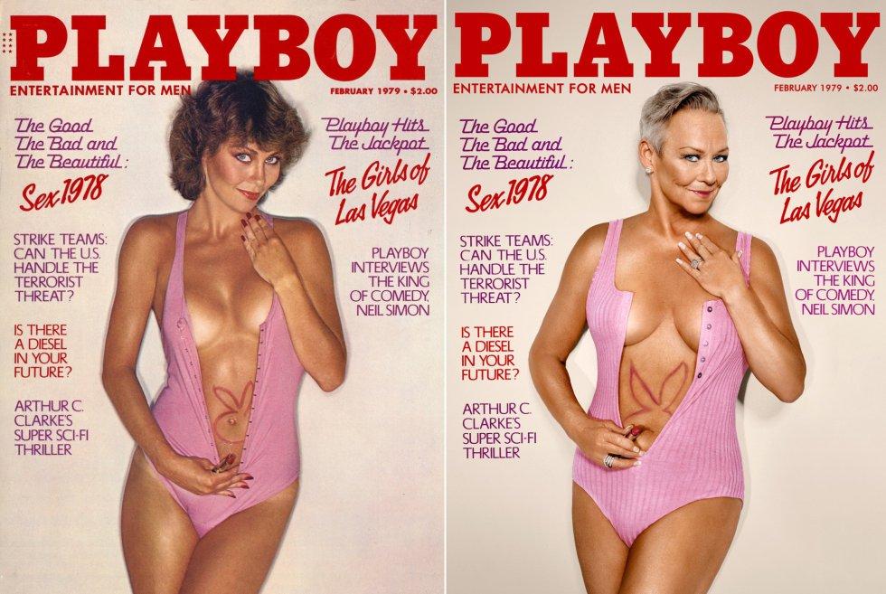 """Candace Collins foi a protagonista da edição de dezembro de 1979 da 'Playboy'. Ao todo acabou posando para seis capas da publicação. Esta que ela recria agora foi a de fevereiro daquele ano. """"Todos eram muito profissionais e prestavam tanta atenção a uma modelo nua ou seminua quanto um leiteiro a suas garrafas de leite. Era um trabalho. Agora sei como essas sessões de fotos eram especiais e me sinto muito, muito sortuda de ser parte dessa irmandade única"""", recorda ela sobre seus trabalhos passados."""