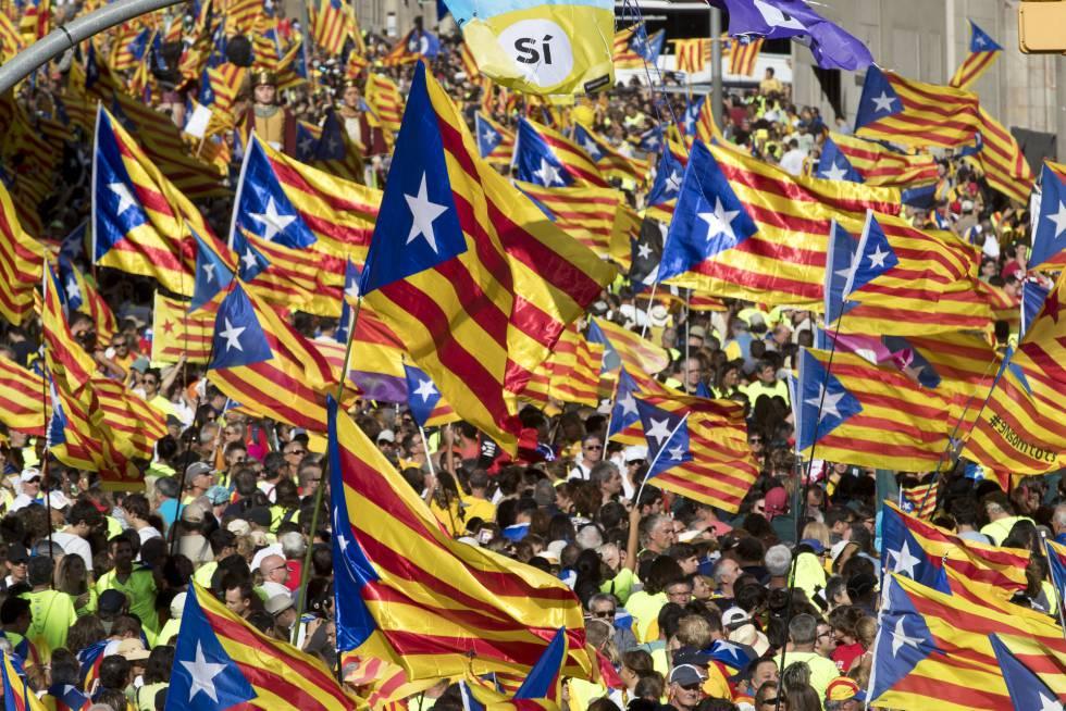 Manifestantes portan banderas esteladas durante la manifestación.