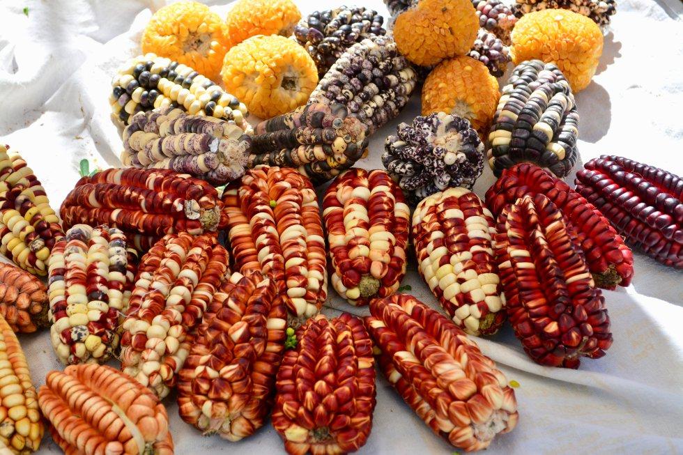 Variedades de maíz en el mercado de Pisaq, uno de los lugares de paso típicos antes de llegar a las ruinas de Machu Picchu.rn