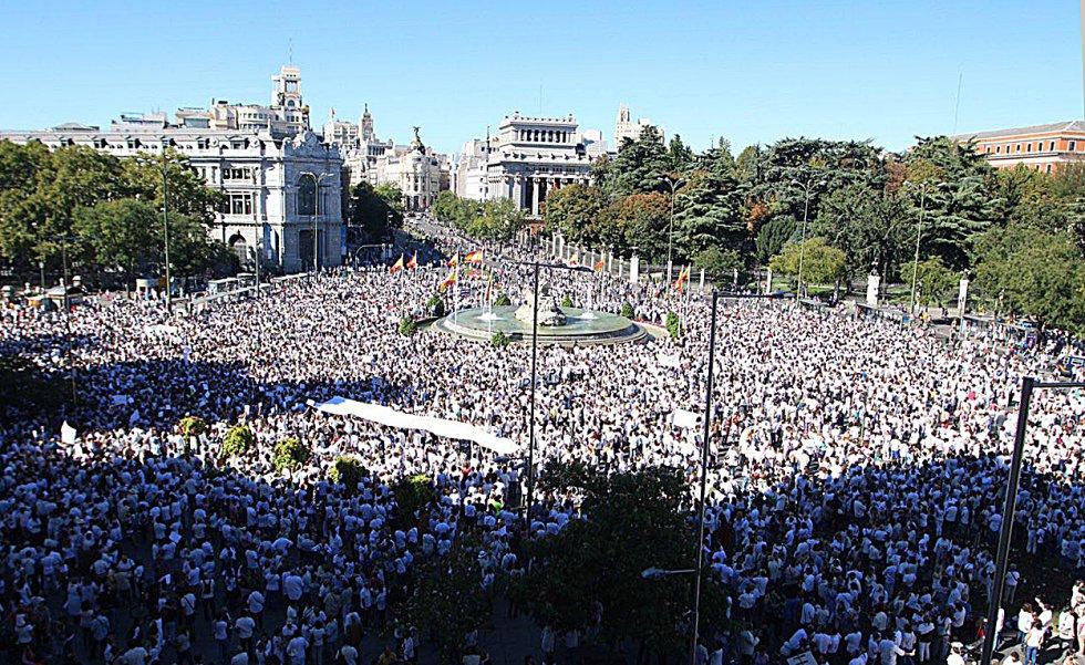 Vista general de la concentración frente al Ayuntamiento de Madrid.