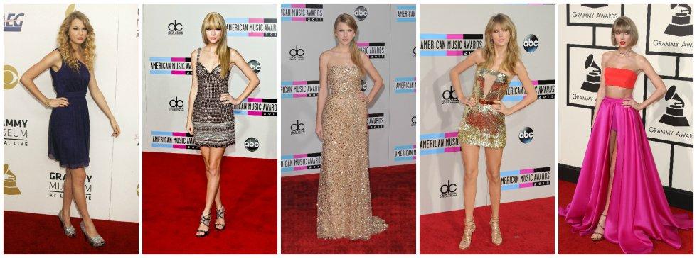 El estilo de Taylor Swift en las alfombras rojas ha ido evolucionando con los años, tanto en el vestuario como en sus peinados. Hoy suele apostar por 'looks' mucho más modernos que la alejan de la imagen aniñada con la que saltó a la fama. De izquierda a derecha, la cantante en 2008, 2010, 2011, 2013 y 2016.