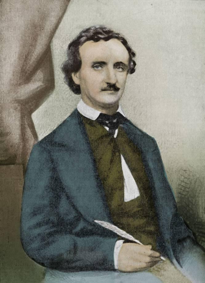 Edgar Allan Poe (Boston, 1809 - Baltimore, 1849) se alistou no Exército quando ainda era menor de idade. Foi mandado para o pelotão de artilharia, não gostou e pediu licença. No fim, os 5 dólares mensais que recebia durante essa breve etapa nos quartéis acabariam sendo o único salário estável que ganhou em toda a sua vida. Poe quis se dedicar profissionalmente à literatura, um ofício então exercido por aristocratas ociosos e outras pessoas com possibilidades, e acabou se saindo muito mal. Nunca conseguiu sustentar sua família. Escrevia como freelancer (inclusive depois de morto: em 1860, 11 anos após a morte do autor, uma médium teve a suprema ousadia de publicar uma coleção de poemas 'ditados' pelo fantasma de Poe), mas quase sempre para revistas e editoras de segunda, que o recompensavam de maneira mesquinha e miserável, barganhando até o último centavo. Nem mesmo o sucesso de seu poema 'O Corvo' ou de seu conto 'O Escaravelho de Ouro' lhe rendeu o suficiente para deixar de passar apertos por uma época. Seu triste enterro, em Baltimore, diante de sete pessoas, é a prova mais eloquente do fracasso em vida deste grande gênio maldito, um esforçado homem das palavras. Na imagem, Edgar Allan Poe em 1849.