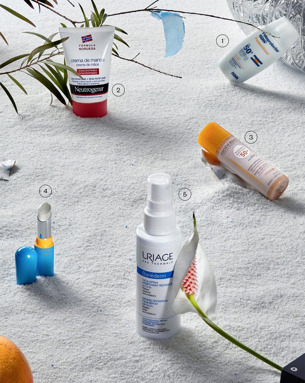 1.  Fotoprotector Fusion Water SPF 50+, de Isdin. Protección invisible, fresca y de absorción inmediata con acabado seco y mate. No pica en los ojos. En farmacias. 19 euros.  2.  Crema de manos concentrada de Neutrogena. Con una pequeña cantidad, alivia de inmediato las manos más secas y estropeadas. No contiene perfume. En farmacias. 7,55 euros.  3.  Photoderm Nude Touch SPF 50+, de Bioderma. Crema antibrillos de alta protección para pieles mixtas y grasas. Con filtros dermatológicos 100% minerales. En farmacias. 16,95 euros.  4.  Sun Protection Lip Treatment, de Shiseido. Stick antiedad que protege los labios del sol, frío y viento. Nutritivo e hidratante, con SPF 20. 30,50 euros.  5.  Bariéderm Cica-Spray Secante Reparador, de Uriage. Con agua termal purificante y antibacteriana, proporciona confort cutáneo a las pieles más frágiles e irritadas. En farmacias. 8,20 euros.
