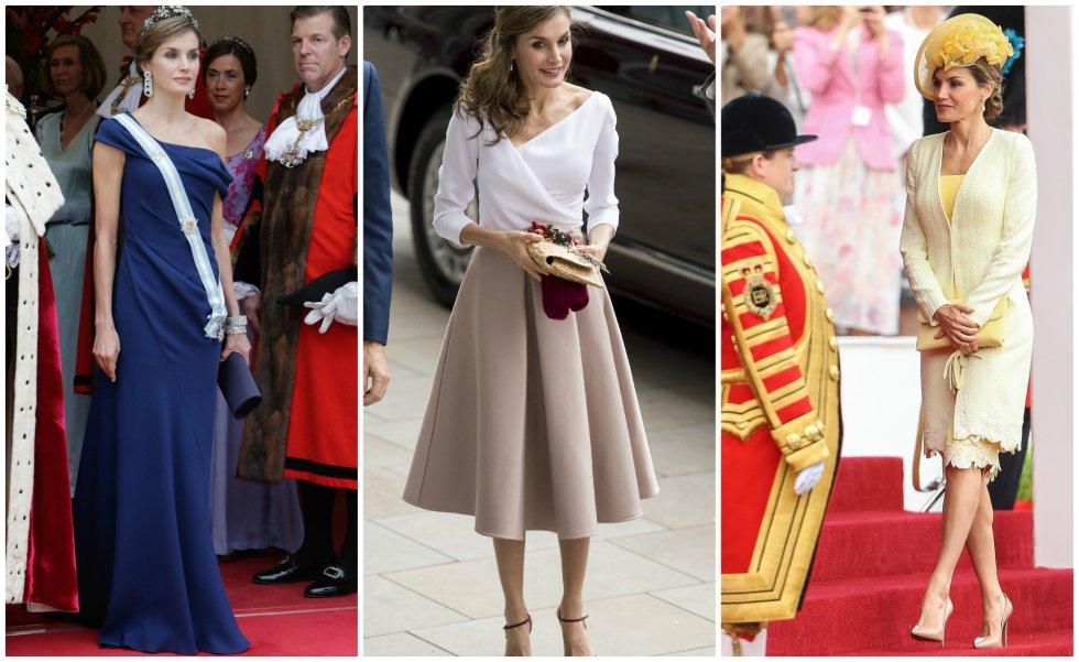 Si ha habido un momento en el que acaparó todas las miradas y se ganó a las estilistas y revistas especializadas en moda fue durante su viaje a Reino Unido. Los vestidos de gala que utilizó en su primer viaje como reina a Londres fueron alabados, también que utilizara en un acto una firma británica 'low cost' como es Topshop. Pero el estilismo con el que se llevó las mayores alabanzas fue el conjunto amarillo de Felipe Varela, a juego con el abrigo y el sombrero, con el que llegó al palacio de Buckingham y se presentó ante la reina Isabel y el duque de Edimburgo.