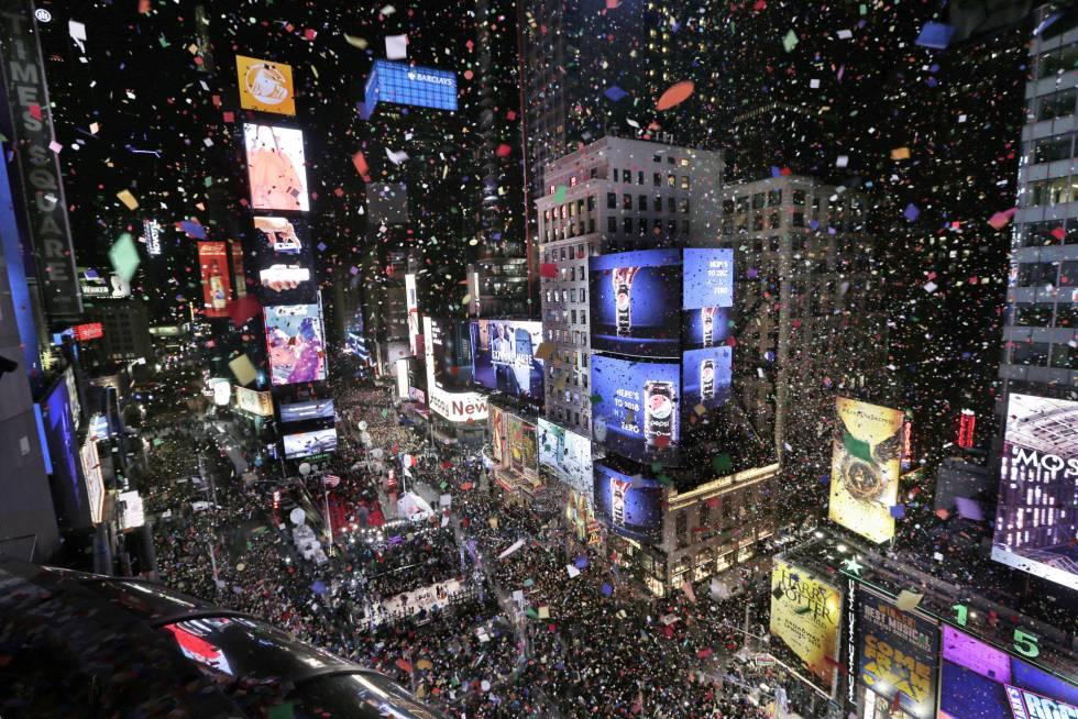 Celebración del Año Nuevo en Times Square en Nueva York (EE UU).