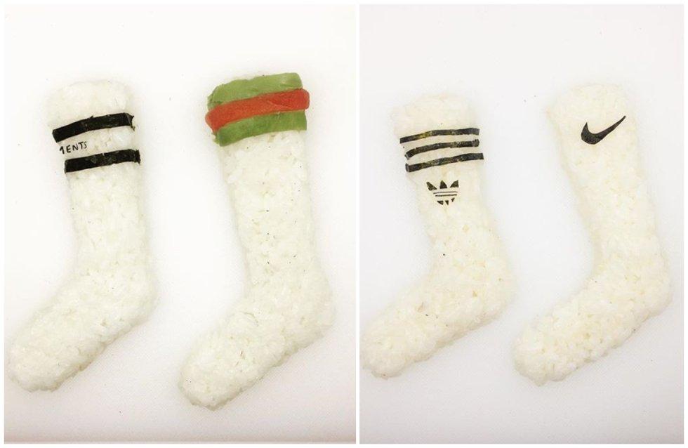 En una despensa urbana como al de Onigiri Art no podían faltar los calcetines deportivos.