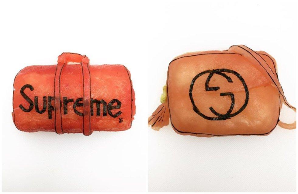 Los bolsos de Yujia están forrados de láminas de salmón y rellenos de arroz y aguacate.