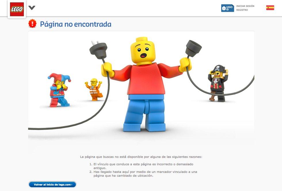 Si estás navegando por la web de Lego y pinchas en un enlace roto esto es lo que te encontrarás : cuatro de sus célebres muñecos con diferentes disfraces (desde un arlequín a un pirata) lamentándose por lo que acaba de ocurrir: que la web se ha roto. En primer plano, un muñeco de Lego sujeta con desolación dos cables que aparecen desconectados. No hay aquí un mensaje escrito especialmente gracioso, la imagen lo hace todo. Y no necesita más.