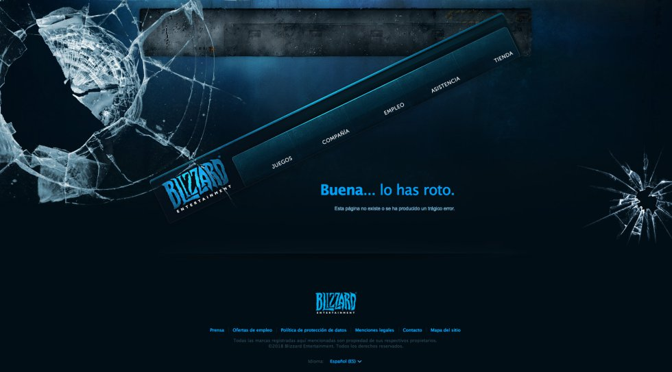 """""""Enhorabuena, lo has roto"""", dice la página web de Blizzard, desarrolladora y distribuidora de videojuegos tan populares como 'Warcraft', 'Diablo' o 'Starcraft'. Cuando el usuario va a dar a  una página de la web que no existe , la pantalla que le aparece no solo es llamativa por ese mensaje que deposita las culpas en el visitante, sino por su aspecto: la página aparece efectivamente rota, simulando una pantalla de ordenador astillada y con el menú principal torcido, como quien le ha dado un martillazo. Lo mejor de todo es que el menú, aún torcido, sigue funcionando normalmente. Un gran ejemplo de diseño al servicio del humor."""