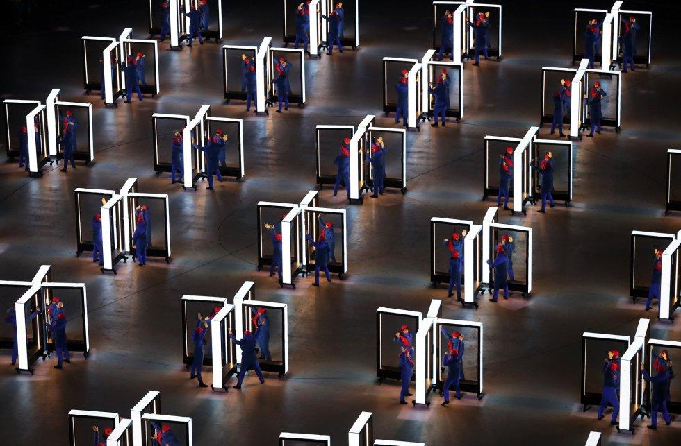 Actuación en el estadio de PyeongChang durante la ceremonia de inauguración de los Juegos Olímpicos de Invierno 2018, el 9 de febrero de 2018.