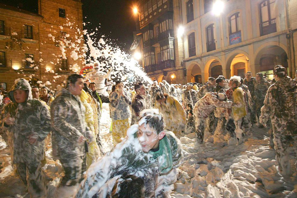 "Avilés (Asturias). The carnival is known as Antroxu and the main day was February 10, when locals held an event called the International Descent of Galiana Street (pictured). In this event, the street is filled with foam and homemade ""boats"" slide down in a race to see which is the best."