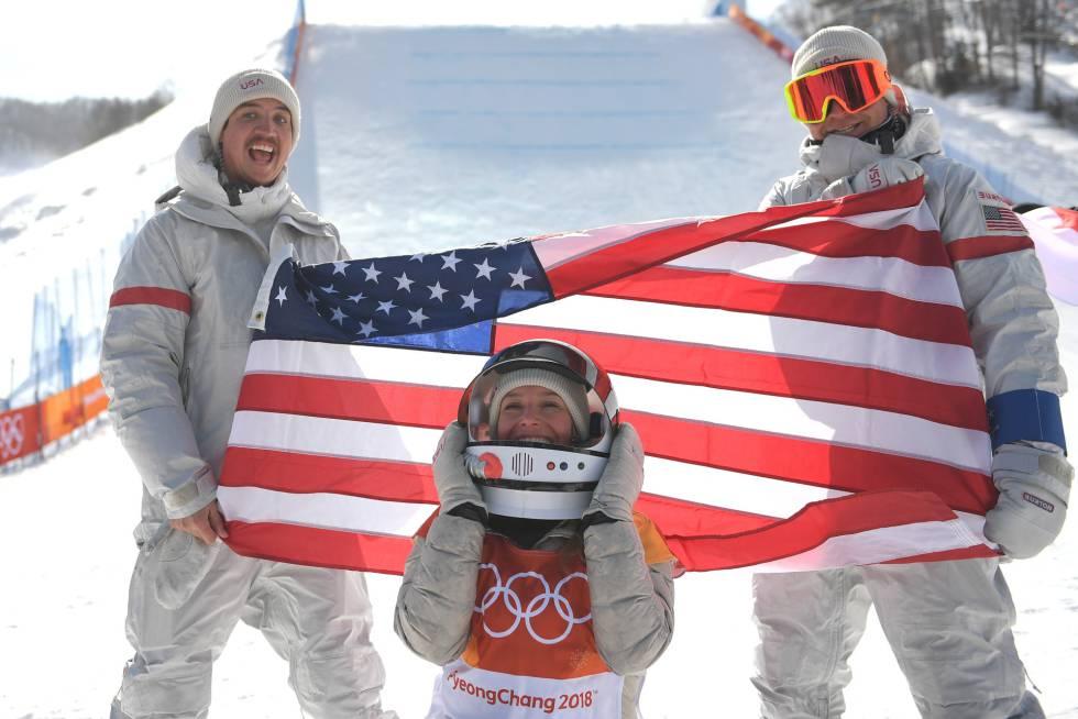 Jamie Anderson, medalha de ouro no final feminina de slopestyle nos Jogos Olímpicos de Inverno de PyeongChang (Coreia do Sul).