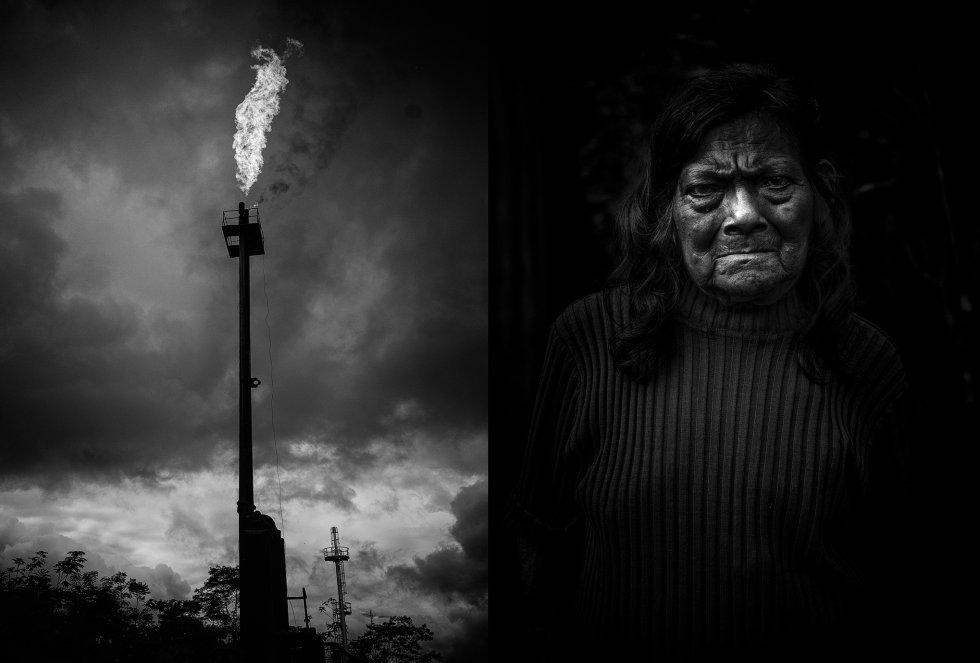 À esquerda, a chaminé da Chevron na província de Sucumbíos, nordeste do Equador. A petroleira operou no país entre 1972 e 1992, extraiu 1,5 milhão de barris de petróleo e despejou milhões de toneladas de resíduos em seus rios. À direita, dona Rosa, que, com seu esposo, precisou esconder-se na selva após confrontos com o Exército, que protegia a empresa mineradora chinesa Explorcobres.
